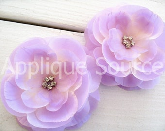 Boutique Layered Lilac Silk Flowers with Rhinestones x 2 Supply Flowers Wholesale