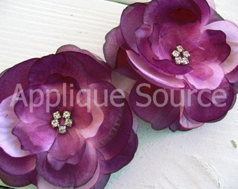 "3.5"" Boutique Eggplant Purple Craft Silk & Organza Flowers with Rhinestones - Set of 2 - Bridal Sash Flower Girl Crafts"