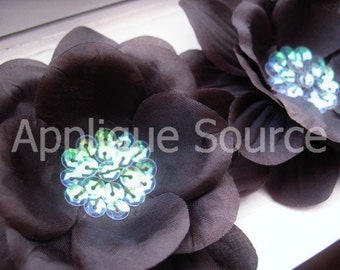 CHOCOLATE BROWN Craft Silk Flowers with Sequin Centers x 2 - Wholesale Quantity Available - Fall Harvest Autumn Flower Photo Prop Decor