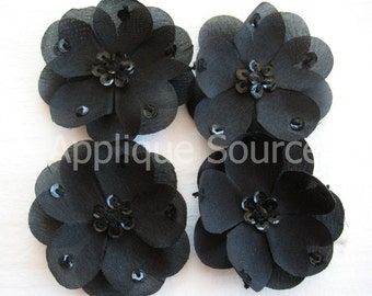 Small Black Silk Flowers with Sequins x 4