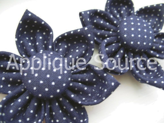 LAST CHANCE Handmade Fabric Flowers with Covered Button Centers x 2 - Navy with White Pindots