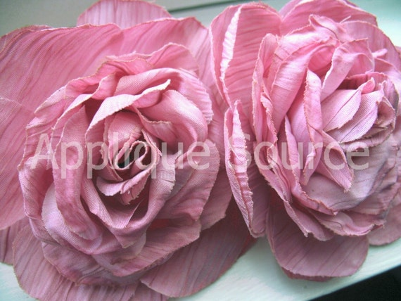 Shabby Chic Vintage Look Victorian Silk Rose Flowers x 4 Rose Pink