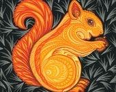 6x6 Squirrel Painting