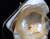 Brides Clutch Purse Light Champagne Satin with Golden and Ivory Handmade Flower