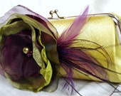 Funky Cool Clutch / Chartreuse Green citron Satin Clutch with Eggplant Purple And Chartreuse Green Flower Feather Accents
