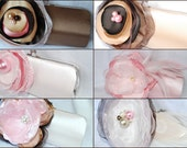 Set of 6 Bridesmaid Clutch Collection/ Neapolitan Shades of Pink Chocolate Brown Champagne and Ivory