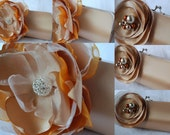 Set of 2 Champagne Clutch with Jalapeno Orange and Champagne Flower Pearl and Rhinestone details
