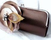 Bridesmaid Clutch - Bridal Party Clutch - Bridesmaid Bouquet Clutch - Chocolate Brown Satin Clutch with Taupe Fabric Flower