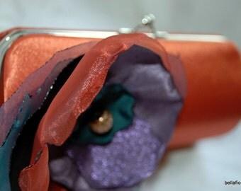 Bridesmaid Clutch Handbag in Sunset Persimmon Orange with Organza flower in purple teal and persimmon orange