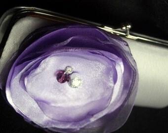 Bridesmaid Clutch / Silver Satin Clutch with Lavender Flower Detail