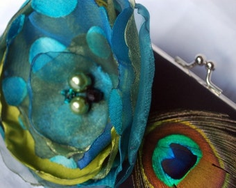 Bridesmaid Clutch / Black satin Clutch with Teal and Olive Flower Peacock Feather Accent
