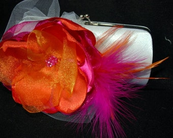 Bridal Clutch White Satin Clutch with Fuchsia and Tangerine Flower White tulle accent and feathers/