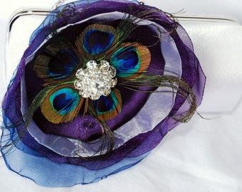 Bridal Clutch/Perfectly Peacock  Inspired White/Ivory or Off White Satin clutch With Peacock Feather Flower