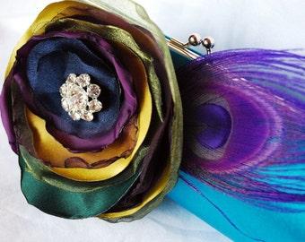 Bridesmaid Clutch | Teal Satin Clutch | Peacock Wedding | Personalized Clutch | Bridesmaid Gift Idea | Rhinestone Clutch | Clutch Sets