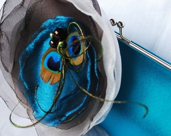 Bridesmaid Clutch/ Perfectly Peacock Teal satin clutch with Teal/ Chocolate Brown and Ivory Flower Peacock Feather Accents