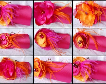 Set of 9 Clutches for Your Bridesmaids   Fuchsia and Orange Collection   Summer Wedding   Personalized Clutch   Bridesmaid Clutches