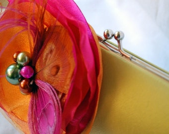 Bridesmaid Clutch / Chartreuse Green citron Satin Clutch with Fuchsia and Orange Fabric FLower with Peacock Feather Accents