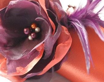 Bridesmaid Custom Clutches | Set of 5 | Autumn Fall Wedding Colors | Burnt Orange and Eggplant Purple | Personalized Clutch | Bridesmaid bag