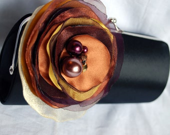 Clutch in Black Satin with Fabric Flower in Autumn colors