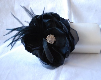 Black Tie Clutch Handbag/ White/Ivory or Off White Satin clutch With Black Fabric Flower and Feathers