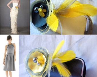 Modern Wedding Clutch - Bridal Clutch - Bridesmaid Clutches - Set of 2 clutches Yellow and Gray