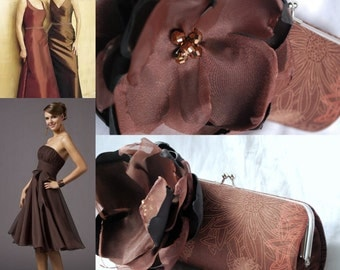 Bridesmaid Clutch - Bridesmaid Clutches - Bridesmaid Gift Idea  - Chocolate Brown and Copper Wedding Colors - This clutch is READY to ship