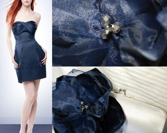 Silver and Navy Bridesmaid Clutch - Bridesmaid Bouquet Clutch - Bridesmaid Gift Idea -  Personalized Clutch
