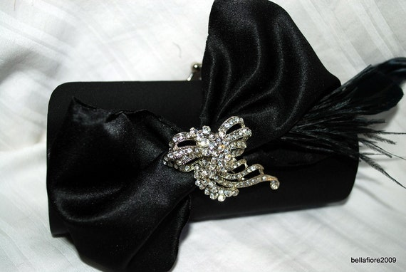 Brides Black Clutch Purse with Large Black Handmade Satin Fabric Bow with Ostrich Feather Plume with VINTAGE Rhinestone Brooch ONE OF A KIND Old Hollywood Glam