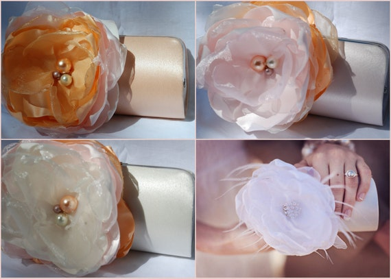 Set of 4 Shabby Chic Vintage Style Clutches for Your Bridal Party and Bridal Purse/ Shades of Pink Peach and Ivory