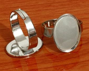 100pcs 12X17mm elliptical tray free nickel Adjustable steel tone plated brass Base Findings Blank ring