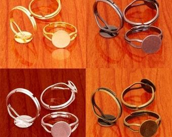 100pcs 10mm ring blank base brass pad adjustable