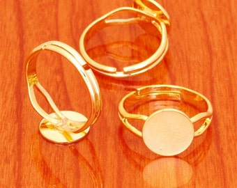 30pcs golden brass base free nickel adjustable rings blank base with 10mm round flat pad
