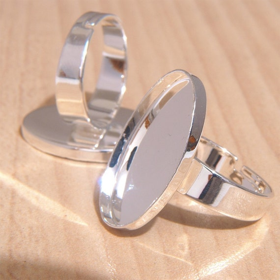 50pcs silvery white 18X25mm elliptical tray free nickel Adjustable  brass Base Findings Blanks ring