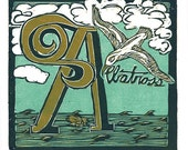 A is for Albatross (multi-color reduction woodcut)