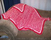Red and White Blanket / Crocheted / White Throw Blanket / Red Afghan / Free Shipping / Ready to Ship