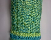 Green and Blue Baby Blanket / Lime Green Afghan / Teal Blue Throw / Free Shipping
