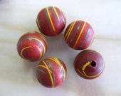 Vintage  Red Striped Wooden Beads 21mm