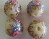 Vintage Creamy Vanilla  Venetian Wedding Cake Beads 15mm (4)