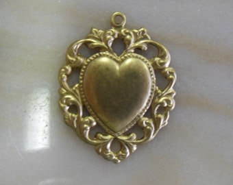 Elegant Brass Floral Heart Pendant
