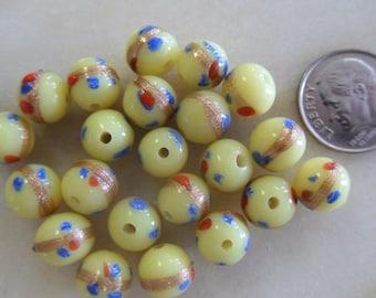 Small Round Light Yellow Venetian Beads