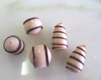 Vintage Light Pink and Brown Striped Glass Beads