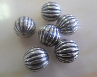 Silver Colored Fluted Beads 16mm (6)