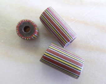 Vintage Venetian Red, Black and Yellow Stripe African Trade 7-20mm  (3)