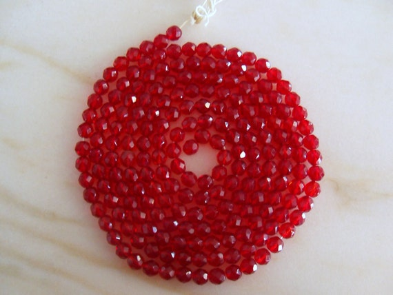 Vintage Red Czeck Fire Polished Glass Beads 8mm