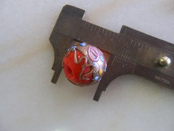 Vintage Venetian Red Orange Wedding Cake Beads 16-17mm (4)