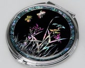 Mother of Pearl Black Makeup Cosmetic Handbag Purse Pocket Compact Mirror with Orchid Design