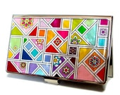 Mother of Pearl Mosaic Patchwork Design Yellow Green Metal Business Name Card Case Holder