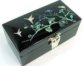 Mother of Pearl Wooden Lacquer Womens Jewelry Gift Treasure Trinket Case Chest Box Container Storage with Ume Tree Design