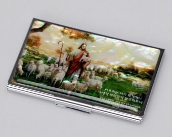 Mother of Pearl Business Credit Name Card Holder ID Money Case Wallet with Jesus the Good Shepherd Design