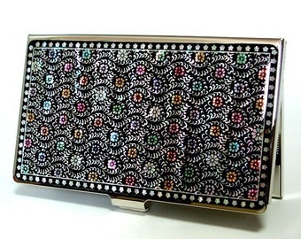 Mother of Pearl Business Credit Name Card Holder ID Money Case with Chrysanthemum Design